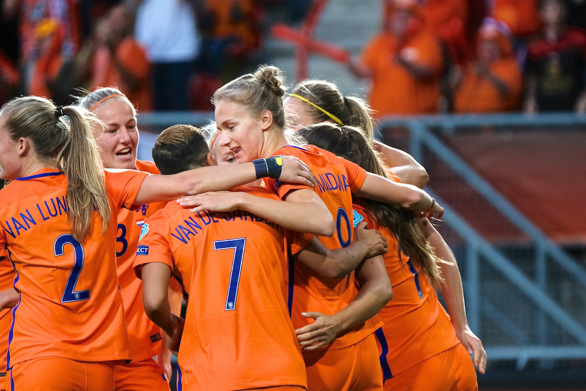 Vivianne Miedema of Netherlands (right)   celebrates scoring their first goal to make it Netherlands 1 England 0 during the UEFA Women's Euros 2017 Semi-final match at De Grolsch Veste, Enschede Picture by Kristian Kane/Focus Images Ltd +44 7814 482222 03/08/2017