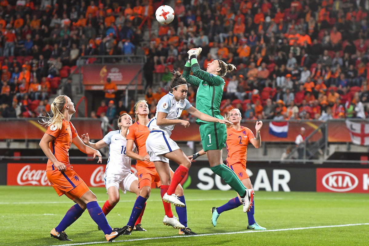 Netherlands goalkeeper Sari van Veenendaal punches clear under pressure from Jodie Taylor of England during the UEFA Women's Euros 2017 Semi-final match at De Grolsch Veste, Enschede Picture by Kristian Kane/Focus Images Ltd +44 7814 482222 03/08/2017