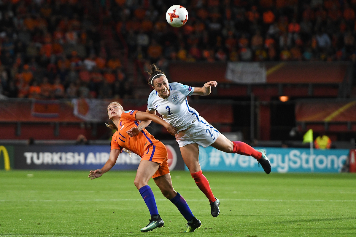 Like Martens of Netherlands (left) and Demi Stokes of England (right) during the UEFA Women's Euros 2017 Semi-final match at De Grolsch Veste, Enschede Picture by Kristian Kane/Focus Images Ltd +44 7814 482222 03/08/2017