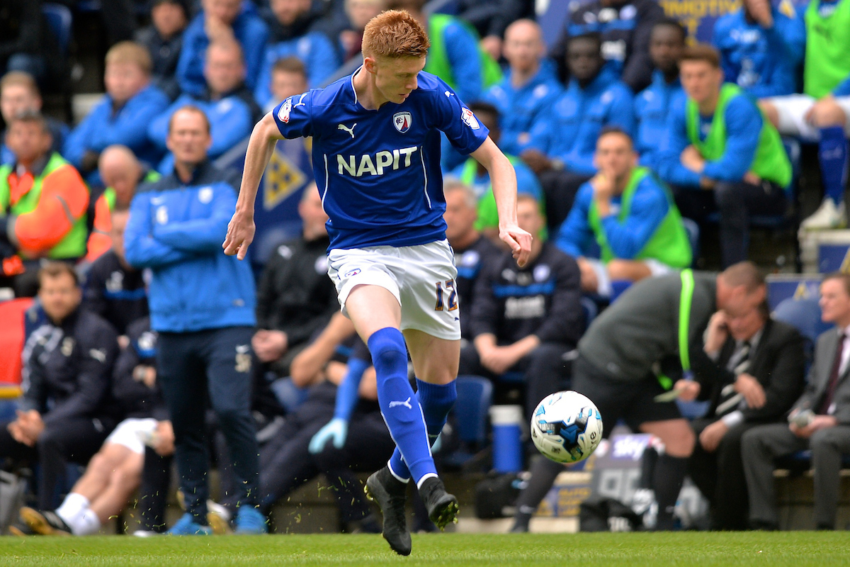 Sam Clucas of Chesterfield during the Sky Bet League 1 playoff match at Deepdale, Preston Picture by Ian Wadkins/Focus Images Ltd +44 7877 568959 10/05/2015