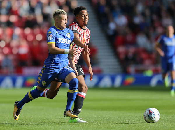 Brendan Galloway (r) of Sunderland and Ezgjan Alioski of Leeds United during the Sky Bet Championship match at the Stadium Of Light, Sunderland Picture by Simon Moore/Focus Images Ltd 07807 671782 19/08/2017