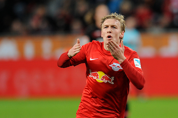 Emil Forsberg of RB Leipzig celebrates scoring their second goal during the Bundesliga match at BayArena, Leverkusen Picture by EXPA Pictures/Focus Images Ltd 07814482222 18/11/2016 *** UK & IRELAND ONLY ***  EXPA-EIB-161118-0185.jpg