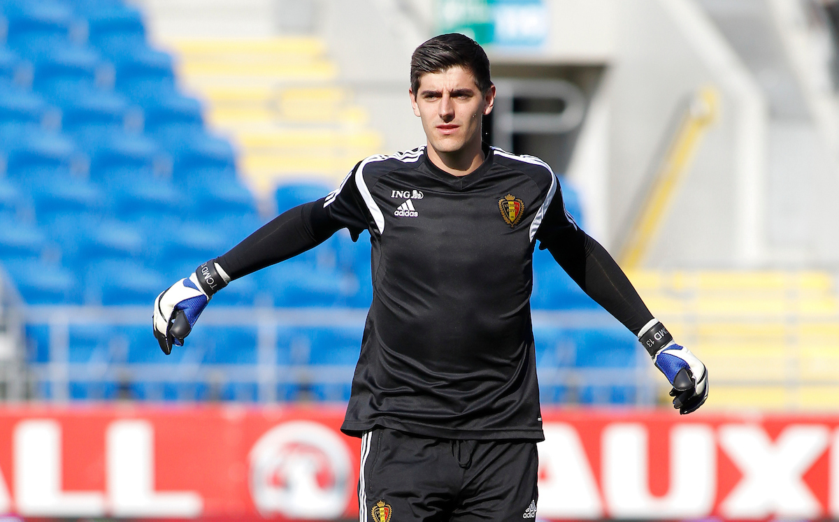 Thibaut Courtois of Belgium, pictured during training ahead of their UEFA Euro 2016 qualifier, at the Cardiff City Stadium, Cardiff Picture by Mike Griffiths/Focus Images Ltd +44 7766 223933 11/06/2015
