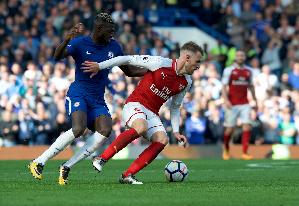 Tiemoue Bakayoko of Chelsea and Aaron Ramsey of Arsenal during the Premier League match at Stamford Bridge, London Picture by Alan Stanford/Focus Images Ltd +44 7915 056117 17/09/2017