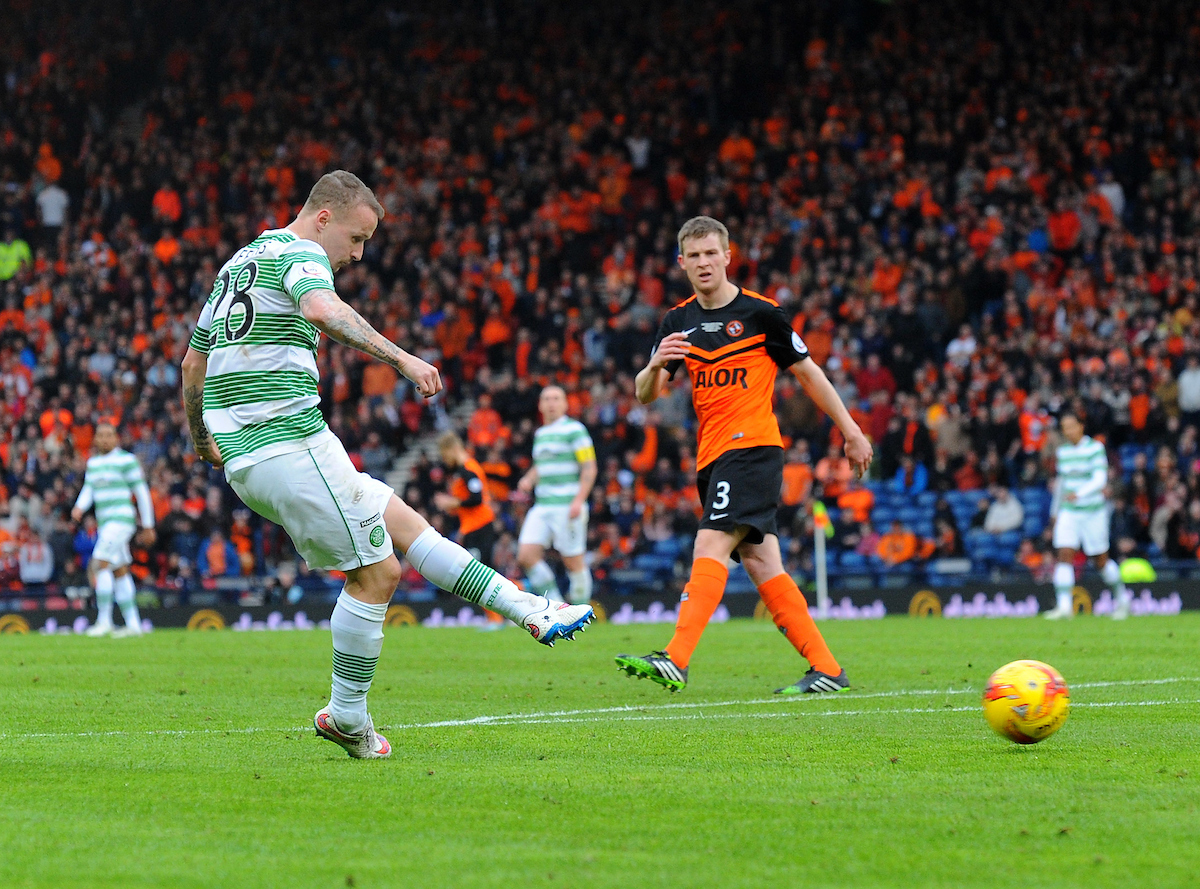 Leigh Griffiths of Celtic shoots but has his efford ruled out for offside during the QTS League Cup Final at Hampden Park, Glasgow Picture by Greg Kwasnik/Focus Images Ltd +44 7902 021456 15/03/2015