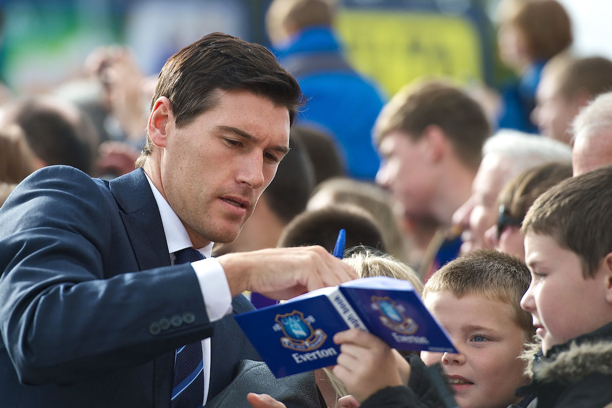Gareth Barry of Everton signs autographs for young fans pictured ahead of the Barclays Premier League match at Goodison Park, Liverpool Picture by Ian Wadkins/Focus Images Ltd +44 7877 568959 18/10/2014