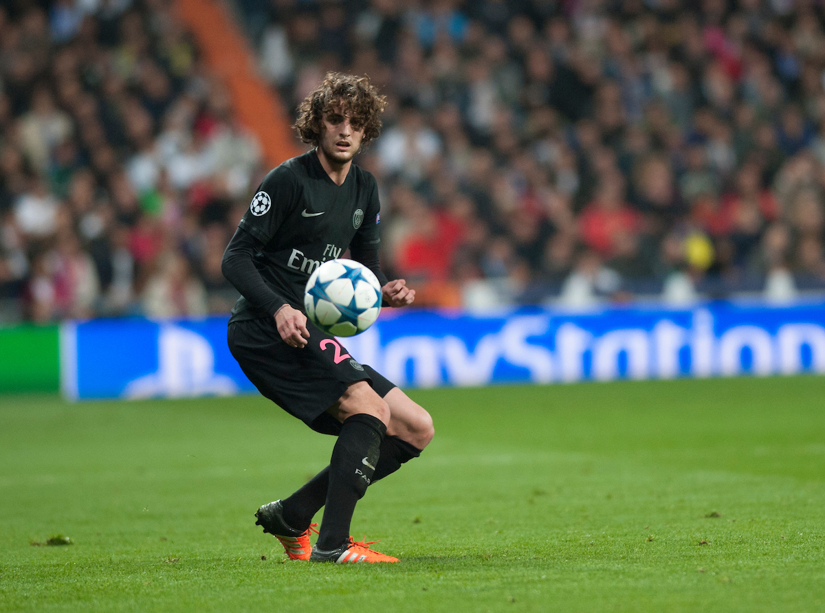Adrien Rabiot of Paris Saint-Germain during the UEFA Champions League match at the Estadio Santiago Bernabeu, Madrid Picture by Marcos Calvo Mesa/Focus Images Ltd +34 654142934 03/11/2015