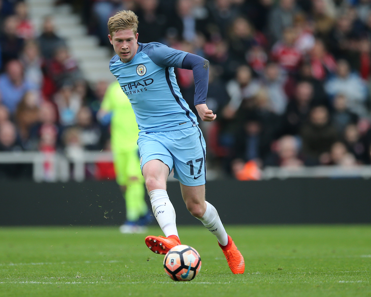 Kevin De Bruyne of Manchester City during the quarter-final of the FA Cup at the Riverside Stadium, Middlesbrough Picture by Simon Moore/Focus Images Ltd 07807 671782 11/03/2017