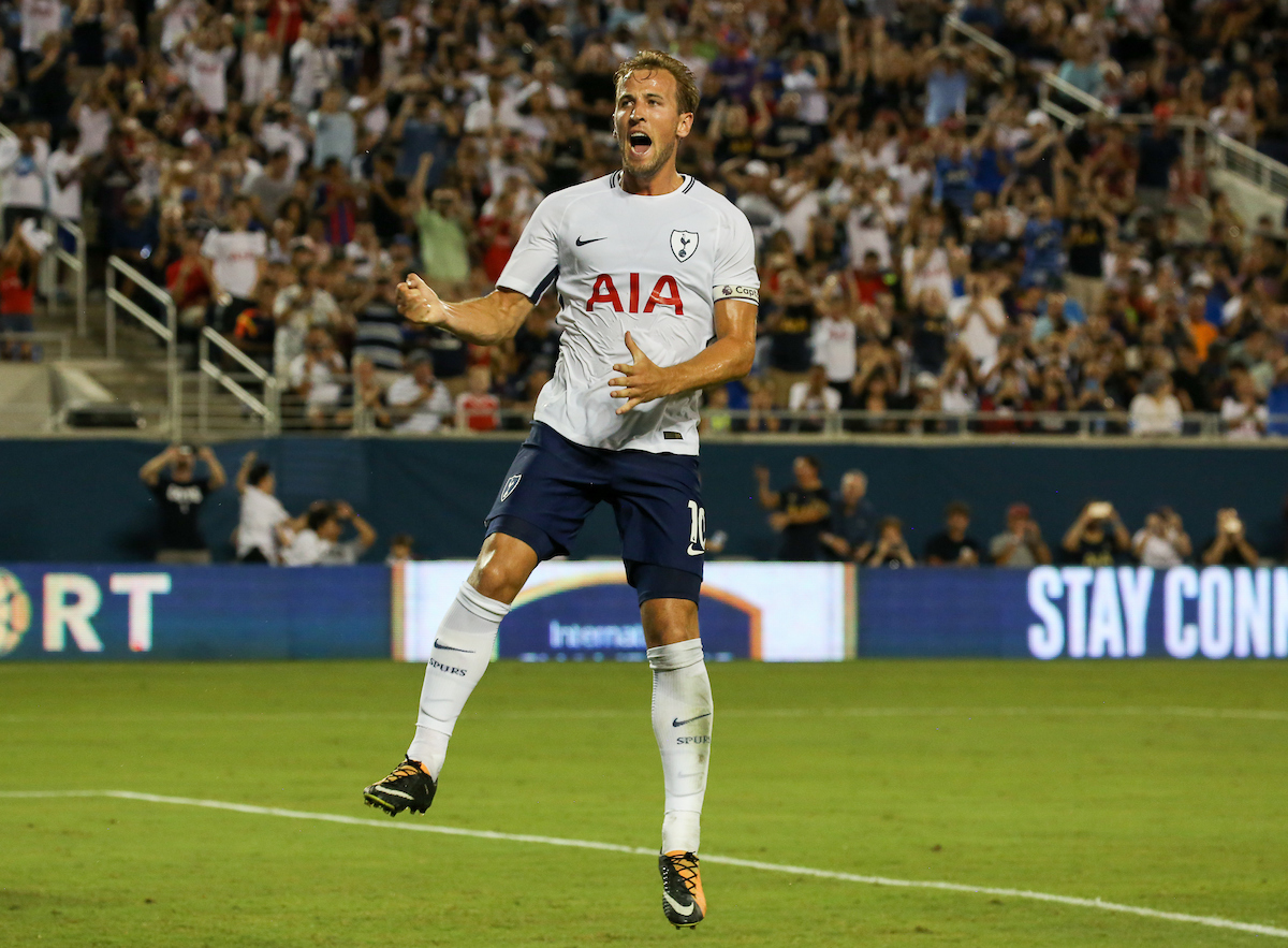 Harry Kane of Tottenham Hotspur celebrates a goal during the 2017 International Champions Cup match at the Camping World Stadium, Orlando, USA. Picture by Adam Kiefer/Focus Images Ltd +1 407 558 3756 22/07/2017