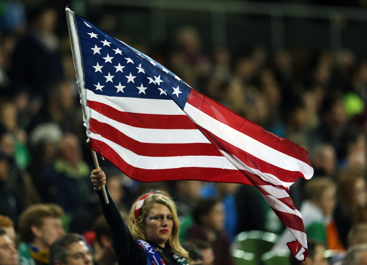 A USA fan during the International Friendly match at the Aviva Stadium, Dublin Picture by Lorraine O'Sullivan/Focus Images Ltd +353 872341584 18/11/2014