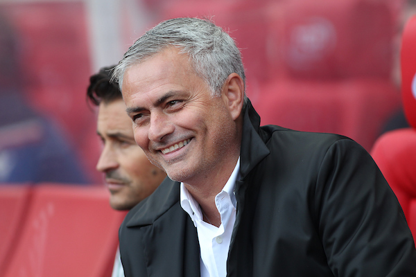Jose Mourinho manager of Manchester United in the dug out  prior to the Premier League match against Stoke City at the Bet 365 Stadium, Stoke-on-Trent. Picture by Michael Sedgwick/Focus Images Ltd +44 7900 363072 09/09/2017