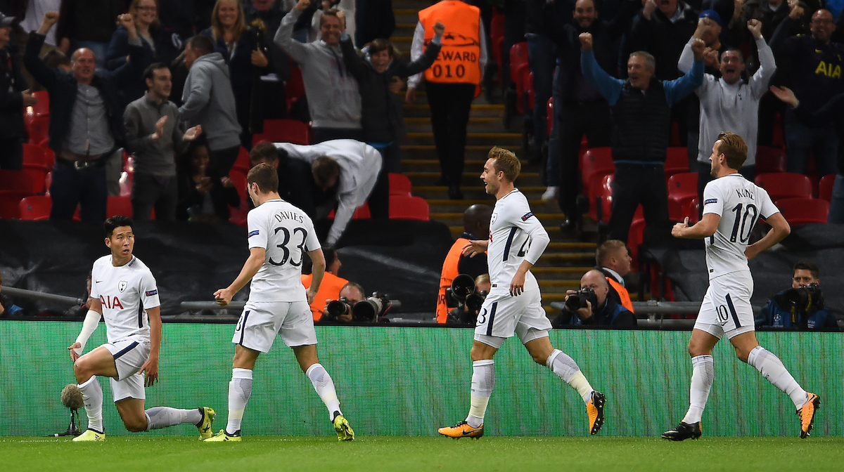 Tottenham Hotspur's Son Heung-Min (left) celebrates scoring his side's first goal of the game during the UEFA Champions League match at Wembley Stadium, London Picture by Daniel Hambury/Focus Images Ltd 07813022858 13/09/2017