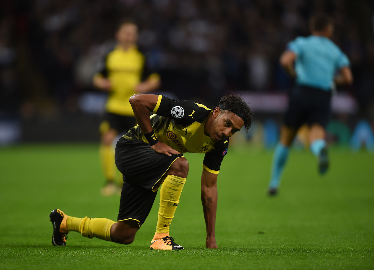 Borussia Dortmund's Pierre Emerick Aubameyang during the UEFA Champions League match at Wembley Stadium, London Picture by Daniel Hambury/Focus Images Ltd 07813022858 13/09/2017