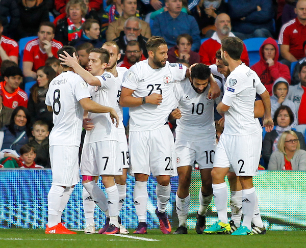 Tornike Okriashvili (2nd R) celebrates the equalising goal for Georgia during the 2018 FIFA World Cup Qualifying match at the Cardiff City Stadium, Cardiff Picture by Mike Griffiths/Focus Images Ltd +44 7766 223933 09/10/2016