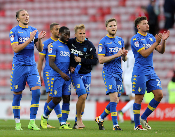 Leeds United players clap the away fans after the Sky Bet Championship match at the Stadium Of Light, Sunderland Picture by Simon Moore/Focus Images Ltd 07807 671782 19/08/2017