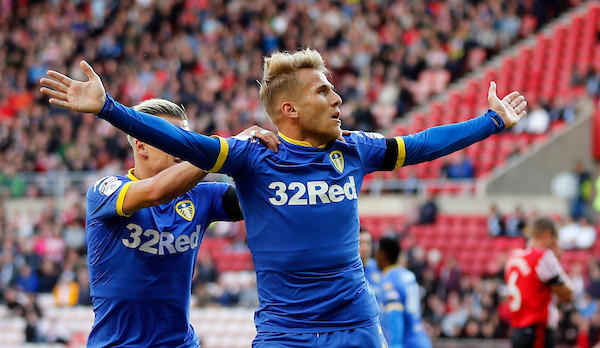 Samu Saiz (21) of Leeds United celebrates scoring the opening goal during the Sky Bet Championship match at the Stadium Of Light, Sunderland Picture by Simon Moore/Focus Images Ltd 07807 671782 19/08/2017