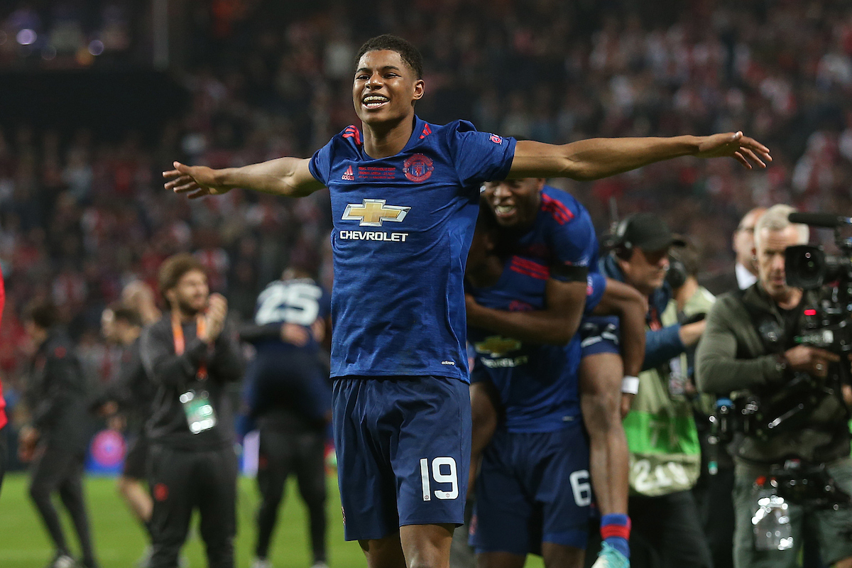 Marcus Rashford of Manchester United celebrates victory at the end of the UEFA Europa League match at Friends Arena, Stockholm.