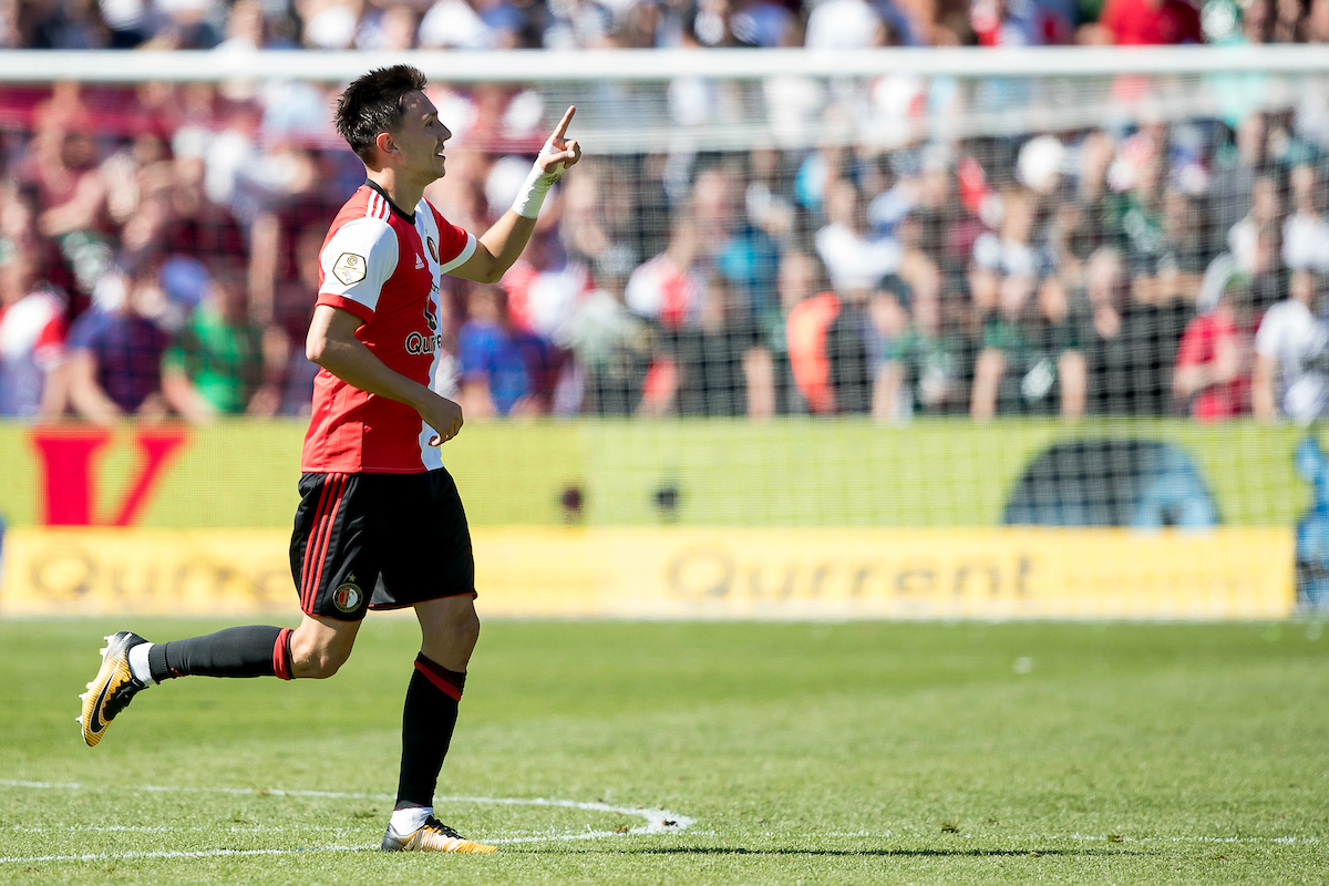 Steven Berghuis of Feyenoord Rotterdam has scored 2-1 during the Dutch Eredivisie match at De Kuip, Rotterdam Picture by Joep Joseph Leenen/Focus Images Ltd +316 5261929 13/08/2017 ***NETHERLANDS OUT***