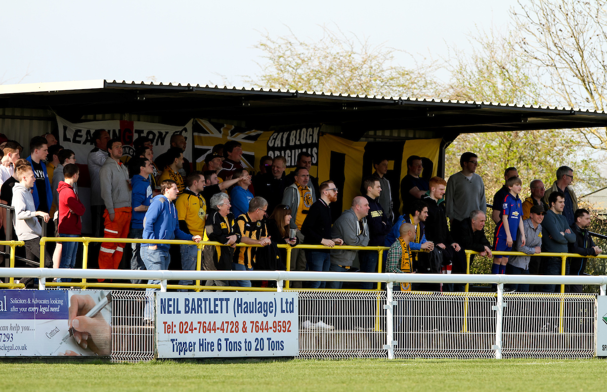 Leamington FC fans during the Conference North match at New Windmill Ground, Leamington Spa Picture by Tom Smith/Focus Images Ltd 07545141164 06/04/2015