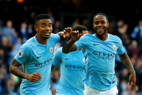 Raheem Sterling of Manchester City celebrates scoring his teams second goal during the Premier League match at the Etihad Stadium, Manchester  Picture by Paul Keevil/Focus Images Ltd 07825151989  14/10/2017