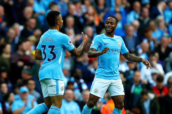 Gabriel Jesus of Manchester City scorer if the first goal celebrates with Raheem Sterling of Manchester City who scored the second goal during the Premier League match at the Etihad Stadium, Manchester Picture by Paul Keevil/Focus Images Ltd 07825151989 14/10/2017