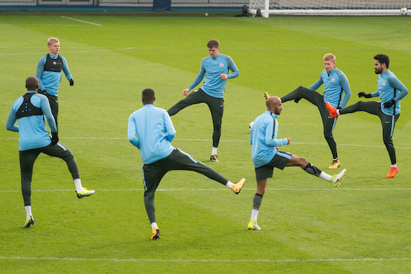 Manchester City players during the Manchester City training session ahead of their Champions League match at City Football Academy, Manchester Picture by Matt Wilkinson/Focus Images Ltd 07814 960751 31/10/2017