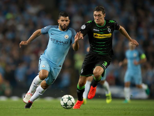 Sergio Aguero of Manchester City (left) looks to pull away from Andreas Christensen of Borussia Monchengladbach during the UEFA Champions League match at the Etihad Stadium, Manchester Picture by Russell Hart/Focus Images Ltd 07791 688 420 14/09/2016