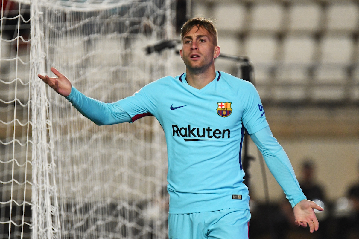 Gerard Deulofeu of FC Barcelona appeals for a decision during the Copa del Rey match at Estadio Nueva Condomina, Murcia Picture by Kristian Kane/Focus Images Ltd +44 7814 482222 24/10/2017