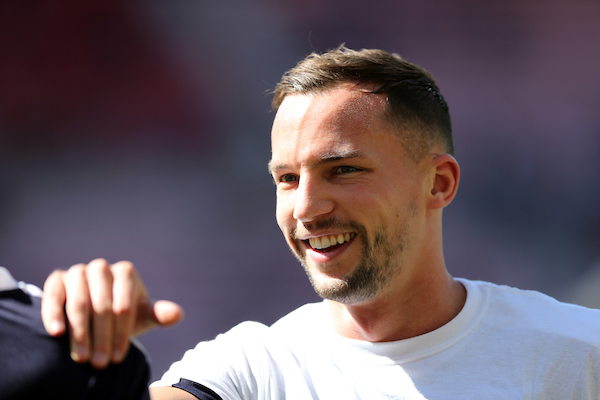 Daniel Drinkwater of Leicester City prior to the Barclays Premier League match at the Stadium Of Light, Sunderland Picture by Simon Moore/Focus Images Ltd 07807 671782 10/04/2016