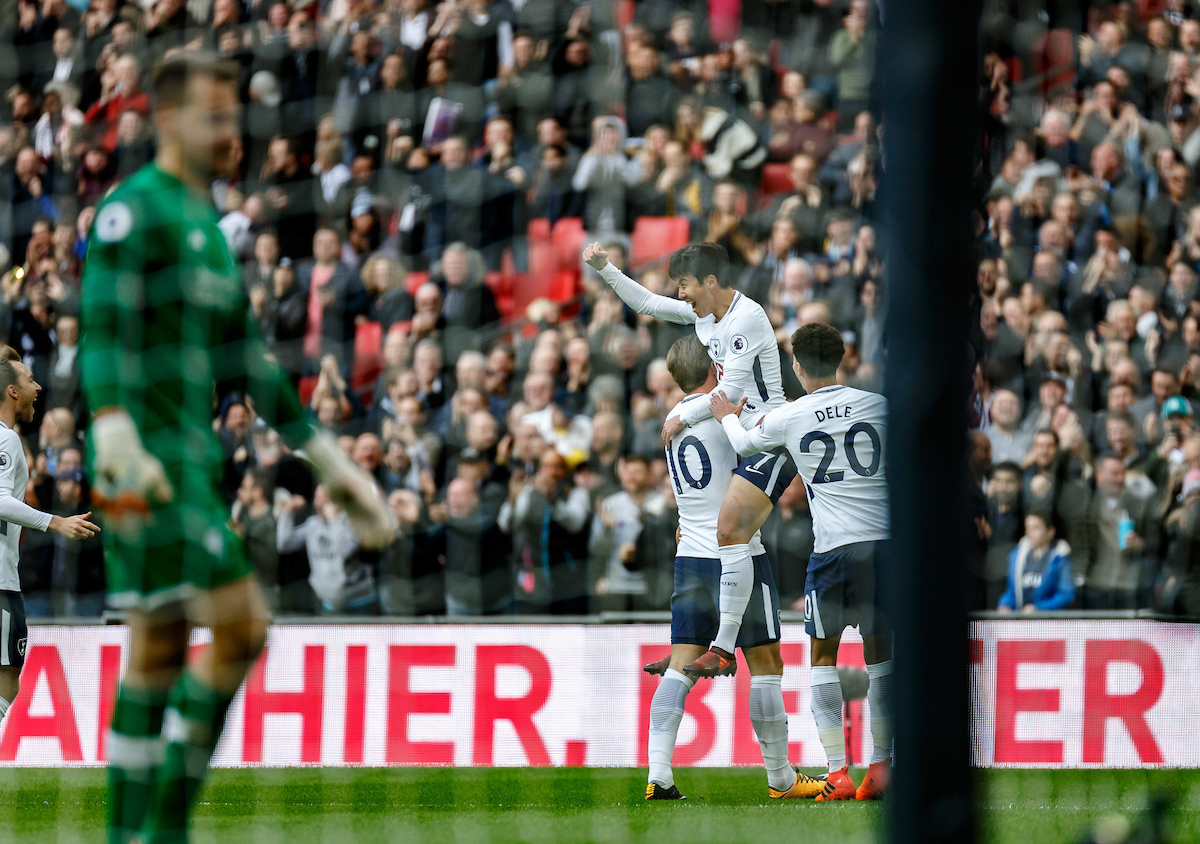 Son Heung-Min of Tottenham Hotspur celebrates his goal while Goalkeeper Simon Mignolet of Liverpool walks back to collect the ball during the Premier League match at Wembley Stadium, London Picture by Liam McAvoy/Focus Images Ltd 07413 543156 22/10/2017