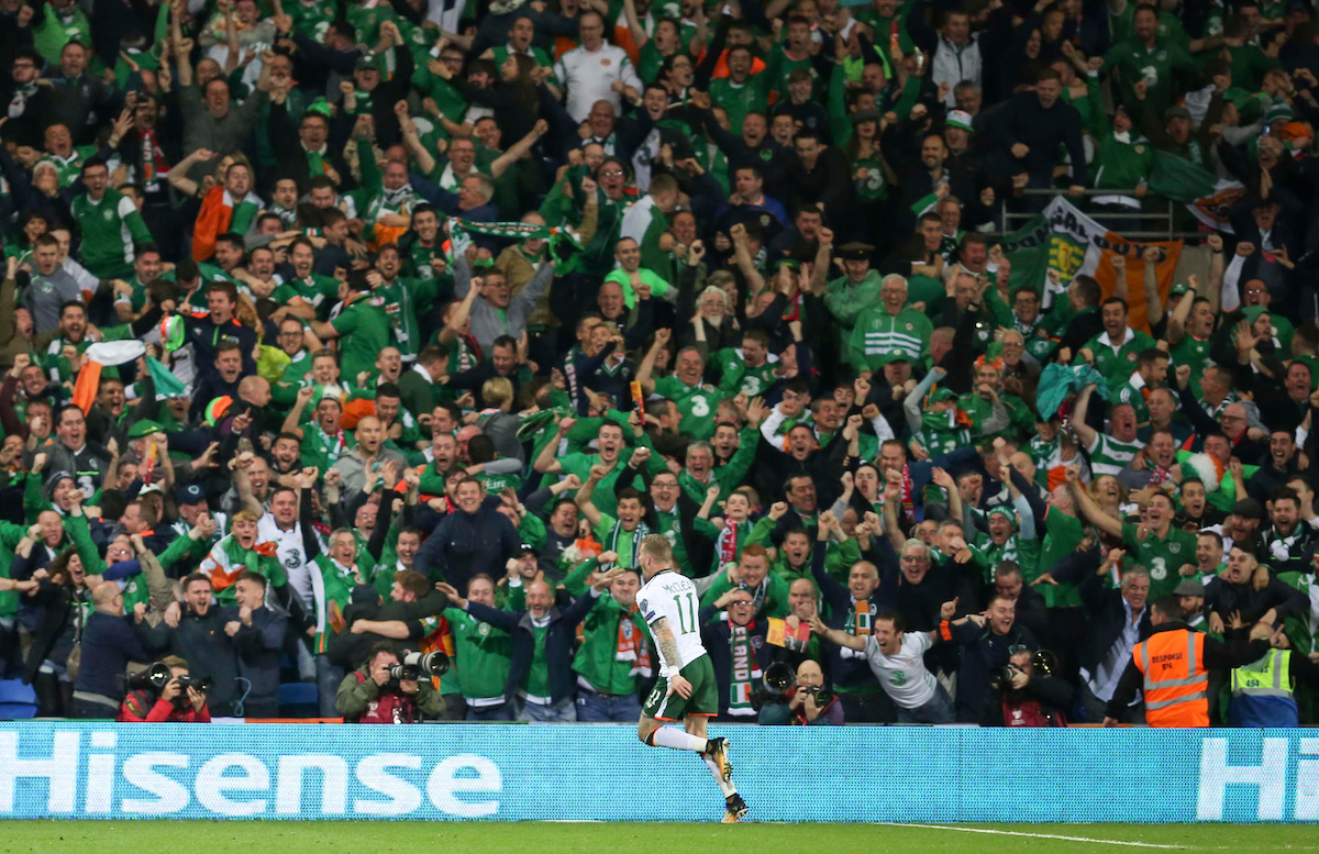 James McClean celebrates the first goal for Republic of Ireland during the 2018 FIFA World Cup Qualifying match at the Cardiff City Stadium, Cardiff Picture by Mike Griffiths/Focus Images Ltd +44 7766 223933 09/10/2017