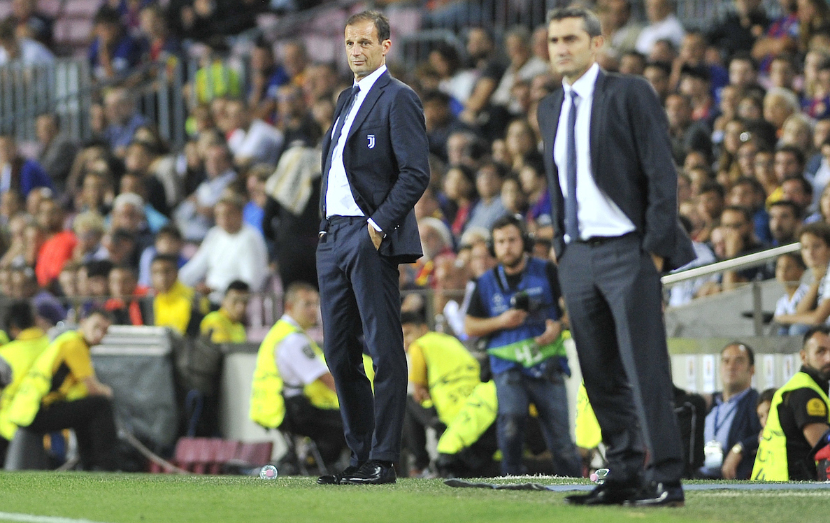Massimiliano Allegri, head coach of Juventus (left) and Ernesto Valverde, head coach of Barcelona during the UEFA Champions League match at Camp Nou, Barcelona Picture by Stefano Gnech/Focus Images Ltd +39 333 1641678 12/09/2017