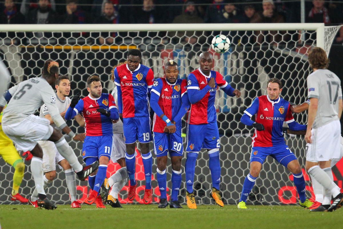 Paul Pogba of Manchester United takes a free kick during the UEFA Champions League match at St. Jakob-Park, Basel Picture by Yannis Halas/Focus Images Ltd +353 8725 82019 21/11/2017