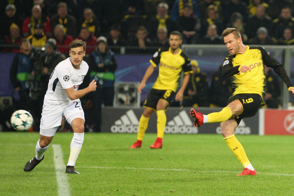 Andri Bartra of Borussia Dortmund and Christian Eriksen of Tottenham Hotspur during the UEFA Champions League match at Signal Iduna Park, Dortmund Picture by Yannis Halas/Focus Images Ltd +353 8725 82019 21/11/2017