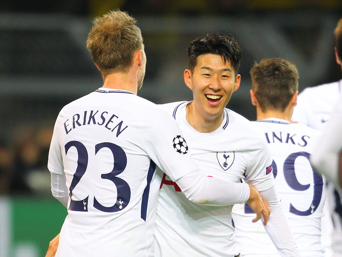 Heung-Min Son of Tottenham Hotspur celebrates after scoring a goal  during the UEFA Champions League match at Signal Iduna Park, Dortmund Picture by Yannis Halas/Focus Images Ltd +353 8725 82019 21/11/2017