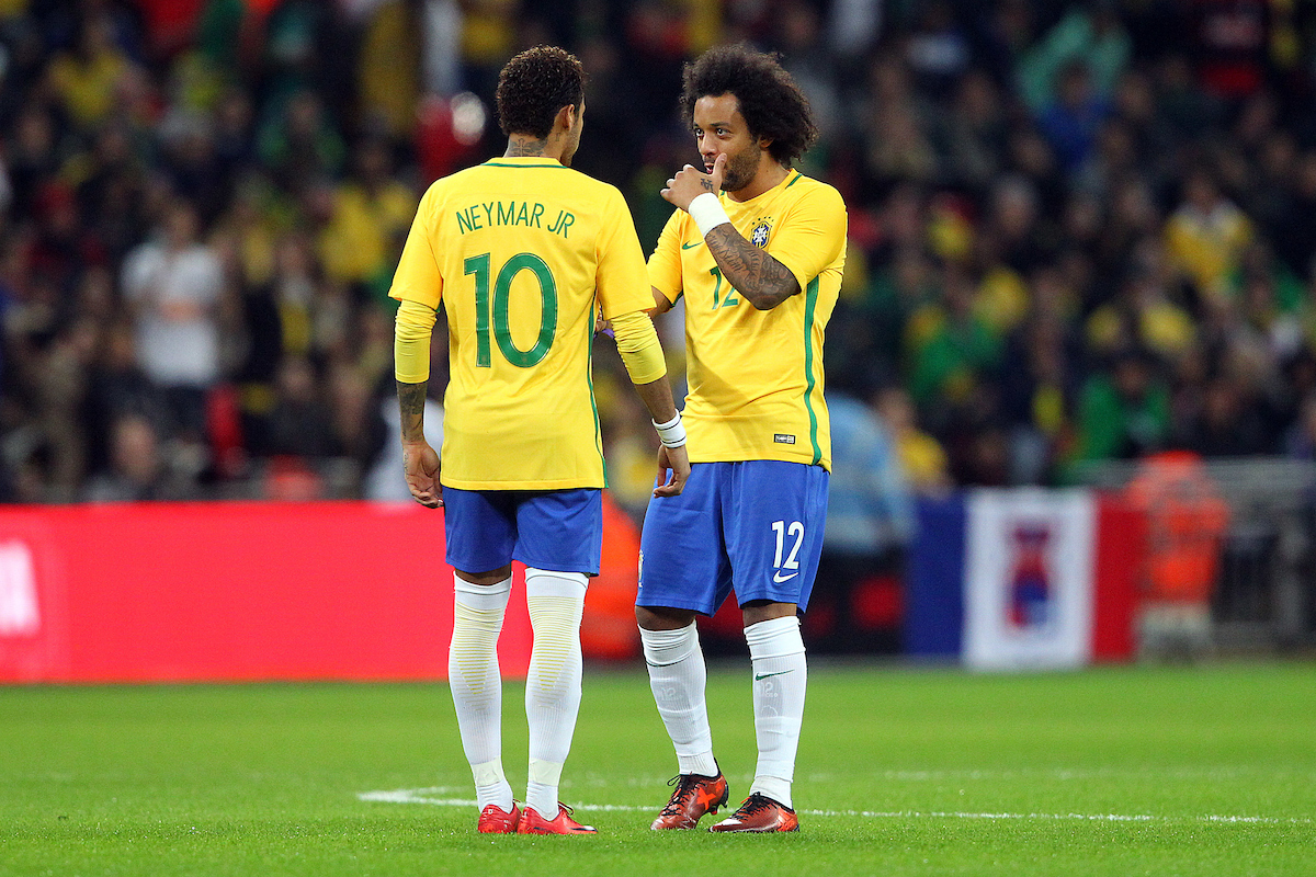 Neymar of Brazil and Marcelo of Brazil during the International Friendly match at Wembley Stadium, London Picture by Paul Chesterton/Focus Images Ltd +44 7904 640267 14/11/2017