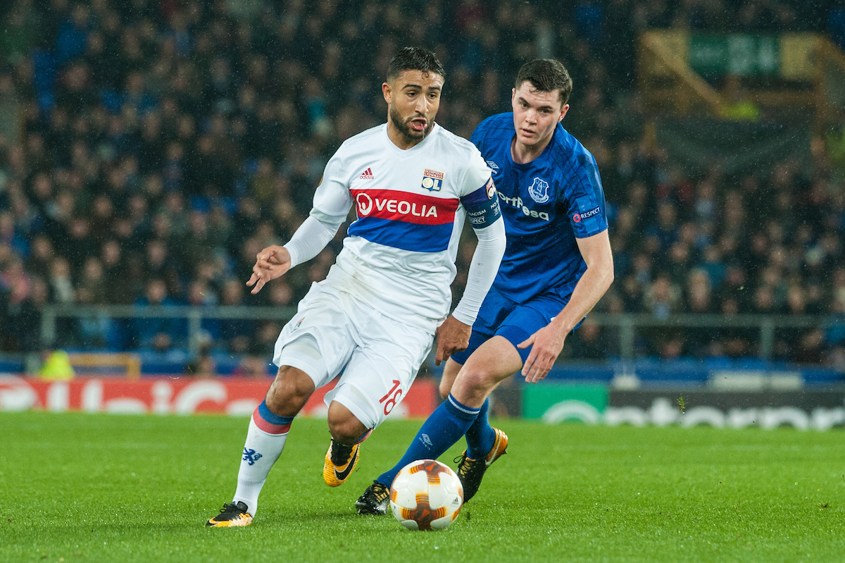 Nabil Fekir of Olympique Lyonnaispushes forward as Michael Keane of Everton looks on during the UEFA Europa League match at Goodison Park, Liverpool Picture by Matt Wilkinson/Focus Images Ltd 07814 960751 19/10/2017
