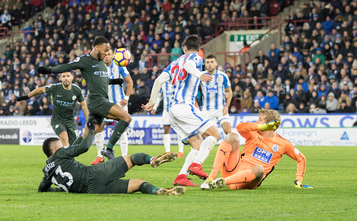 Raheem Sterling of Manchester City scores a goal to put his side in the lead during the Premier League match at the John Smiths Stadium, Huddersfield Picture by James Wilson/Focus Images Ltd 07522 978714?? 26/11/2017