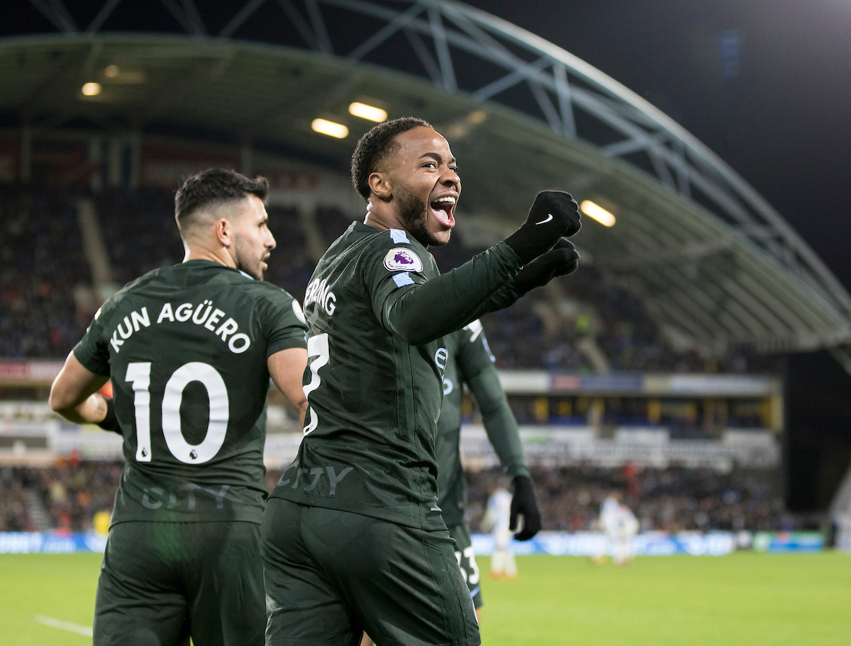 Raheem Sterling of Manchester City celebrates scoring a goal to put his side in the lead during the Premier League match at the John Smiths Stadium, Huddersfield Picture by James Wilson/Focus Images Ltd 07522 978714?? 26/11/2017