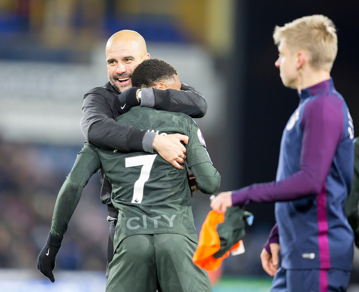 Pep Guardiola hugs Raheem Sterling of Manchester City after their team beat Huddersfield Town during the Premier League match at the John Smiths Stadium, Huddersfield Picture by James Wilson/Focus Images Ltd 07522 978714?? 26/11/2017