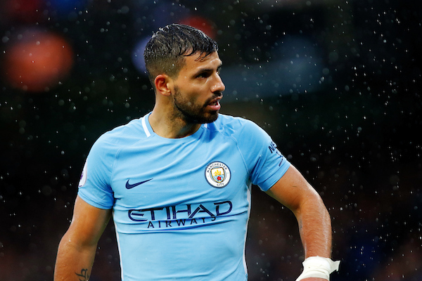 Sergio Agüero of Manchester City battles the rain at the Premier League match at the Etihad Stadium, Manchester Picture by Paul Keevil/Focus Images Ltd 07825151989 21/10/2017