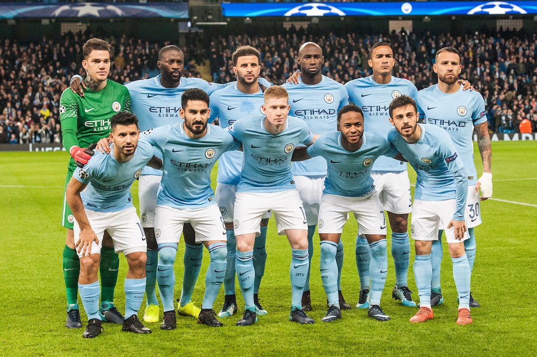 Manchester City line up prior to the UEFA Champions League match at the Etihad Stadium, Manchester Picture by Matt Wilkinson/Focus Images Ltd 07814 960751 21/11/2017