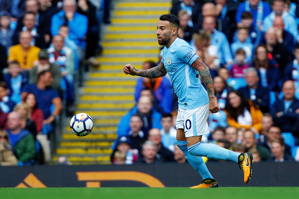 Nicolás Otamendi of Manchester City runs with the ball during the Premier League match at the Etihad Stadium, Manchester  Picture by Paul Keevil/Focus Images Ltd 07825151989  14/10/2017