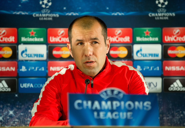 Monaco coach Leonardo Jardim talks during a press conference at Stade Louis II, Monaco ahead of their UEFA Champions League last 16 second leg match against Arsenal. Picture by Russell Hart/Focus Images Ltd 07791 688 420 16/03/2015