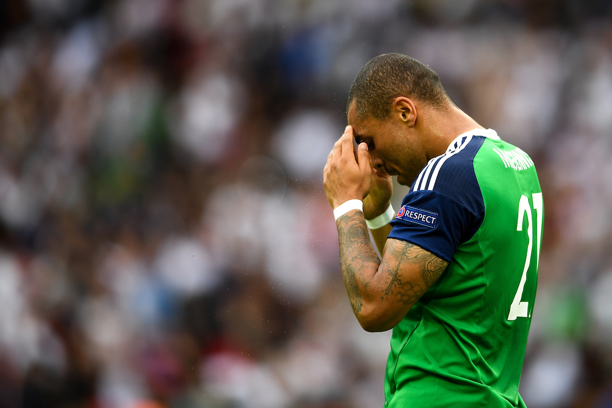 Josh Magennis of Northern Ireland pictured after the UEFA Euro 2016 match at Parc des Princes, Paris Picture by Anthony Stanley/Focus Images Ltd 07833 396363 21/06/2016