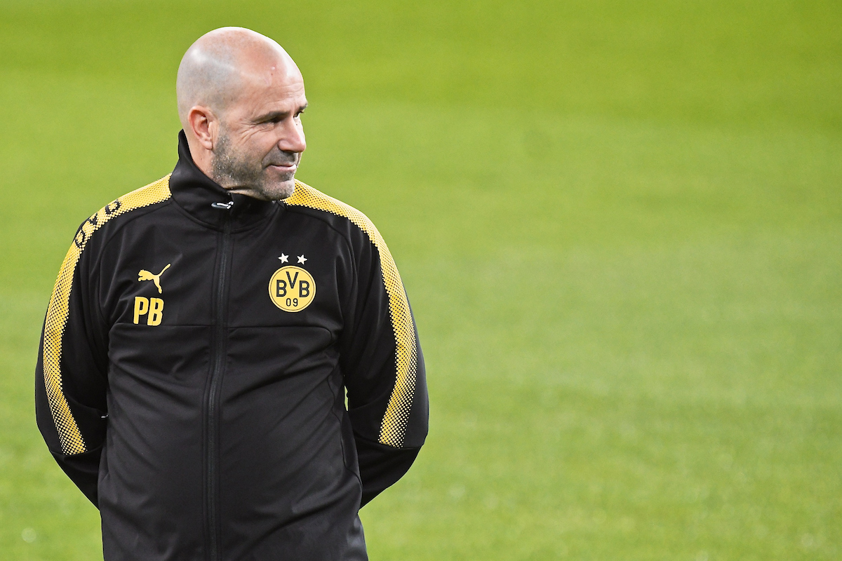 Borussia Dortmund manager Peter Bosz during training at the Estadio Santiago Bernabeu, Madrid Picture by Kristian Kane/Focus Images Ltd +44 7814 482222 05/12/2017