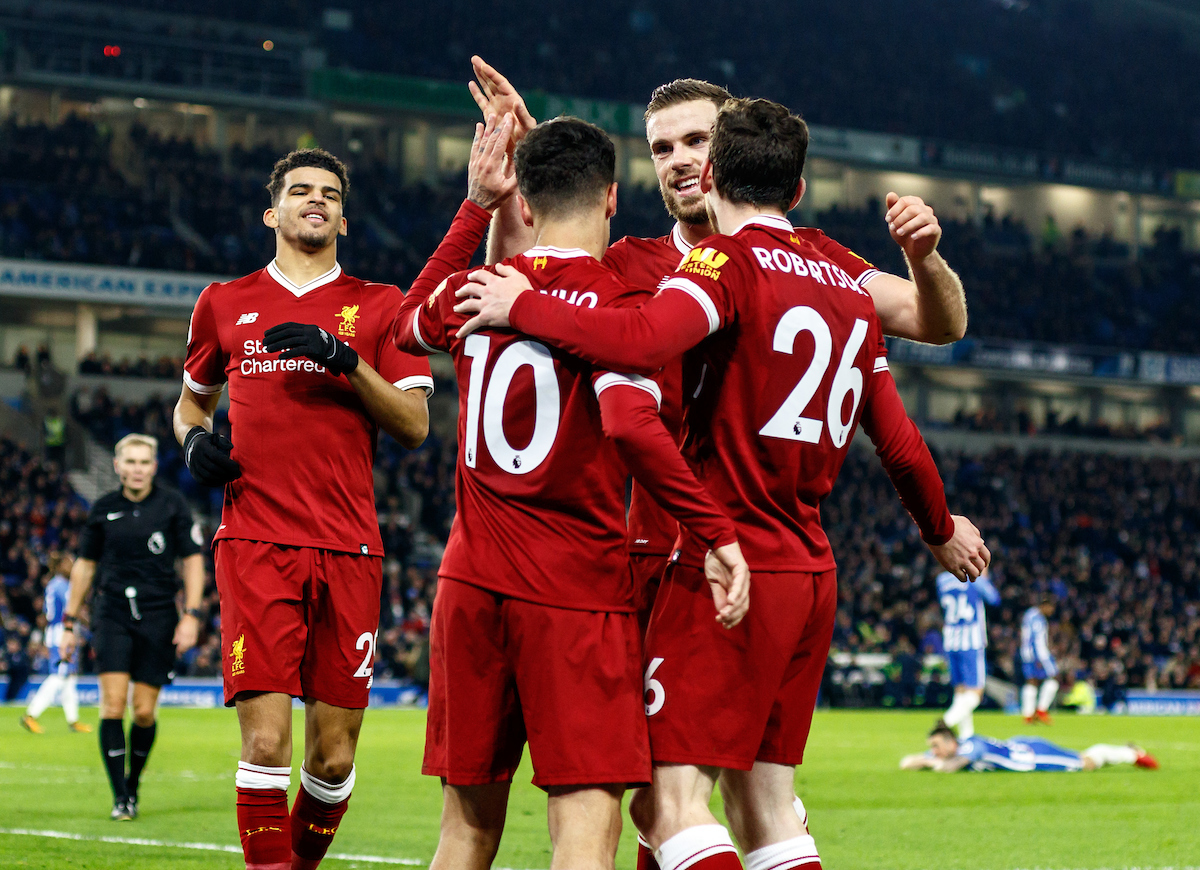 Liverpool players celebrate the Lewis Dunk of Brighton & Hove Albion own goal during the Premier League match at the American Express Community Stadium, Brighton and Hove Picture by Liam McAvoy/Focus Images Ltd 07413 543156 02/12/2017