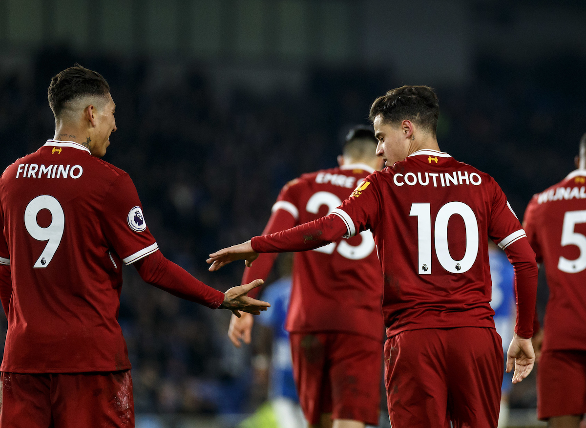 Roberto Firmino of Liverpool congratulates Philippe Coutinho of Liverpool after he scores during the Premier League match at the American Express Community Stadium, Brighton and Hove Picture by Liam McAvoy/Focus Images Ltd 07413 543156 02/12/2017