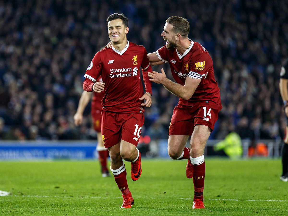 Philippe Coutinho of Liverpool celebrates his goal with captain Jordan Henderson of Liverpool during the Premier League match at the American Express Community Stadium, Brighton and Hove Picture by Liam McAvoy/Focus Images Ltd 07413 543156 02/12/2017