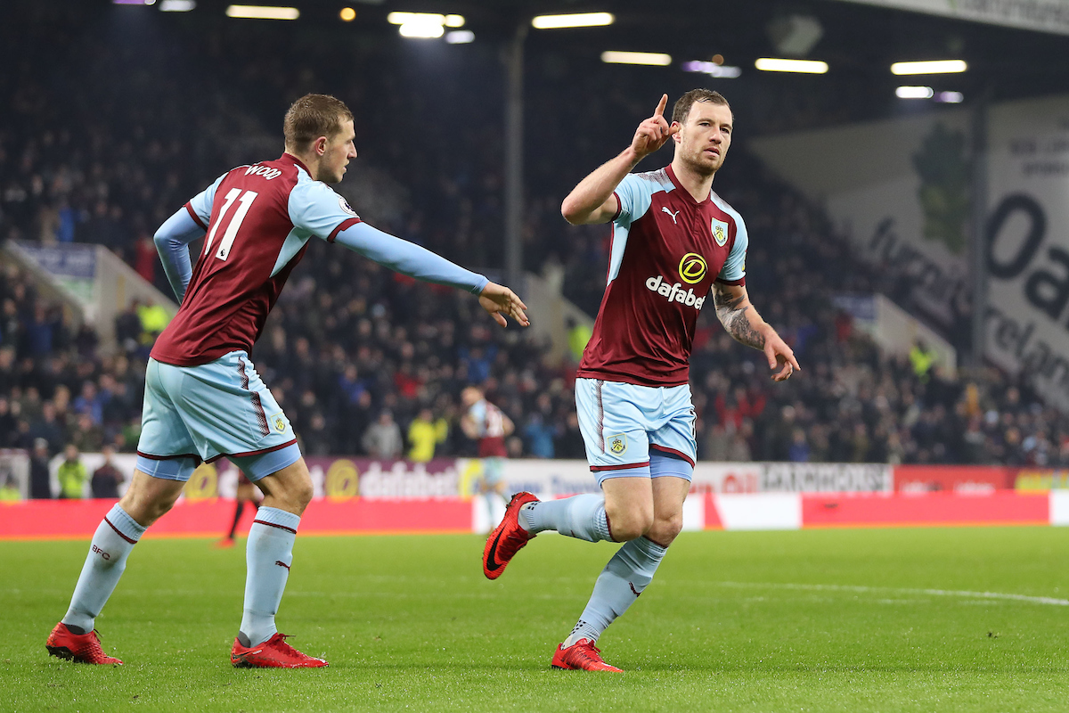 Ashley Barnes of Burnley celebrates what he thinks is the second goal against Watford, before referee Lee Probert disallows the goal for offside during the Premier League match at Turf Moor, Burnley.  Picture by Michael Sedgwick/Focus Images Ltd +44 7900 363072  09/12/2017during the Premier League match at Turf Moor, Burnley.
